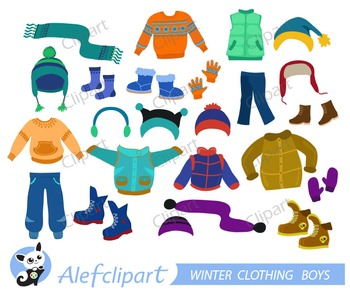 Winter clothes clipart images graphic free Winter Clothing Clipart Set for boys graphic free