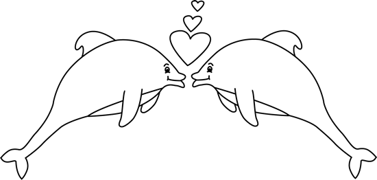 Winter dolphin valentines clipart svg free download Black and White Valentine\'s Day Dolphins Clip Art - Black ... svg free download