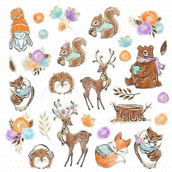 Winter forest animals clipart clip art freeuse Karamfilas Woodland - Cute forest animals clipart ... clip art freeuse
