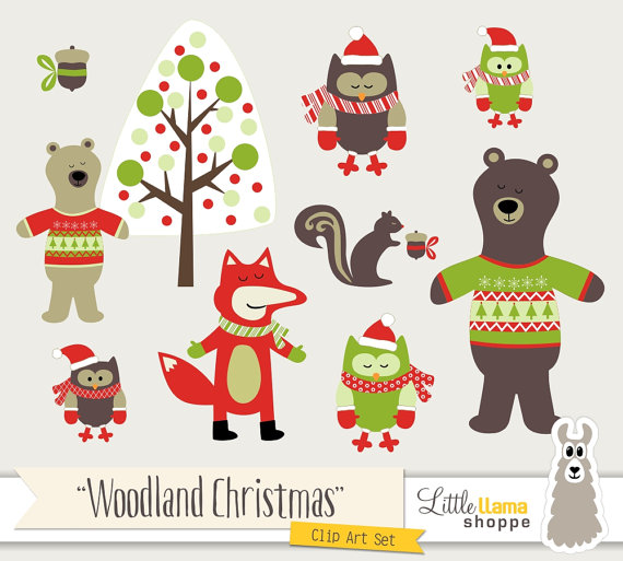 Winter forest animals clipart clip free stock Woodland Animal Clip Art, Winter Woodland Forest Animal ... clip free stock