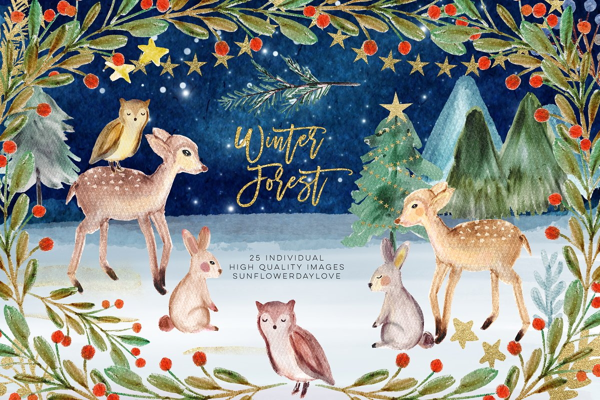 Winter forest animals clipart stock Winter Woodland Animals Clipart ~ Illustrations ~ Creative ... stock