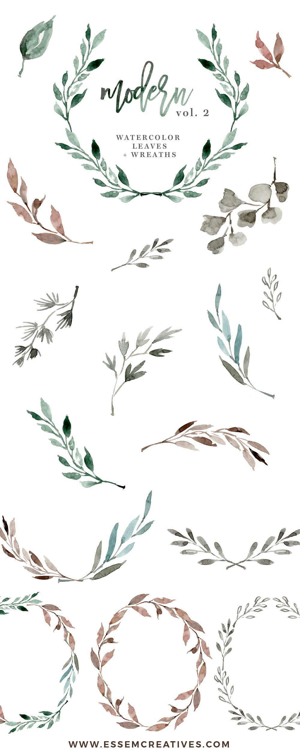 Winter greeny branches clipart png free Watercolour Leaves Wreaths Clipart, Greenery Wedding Clipart ... png free