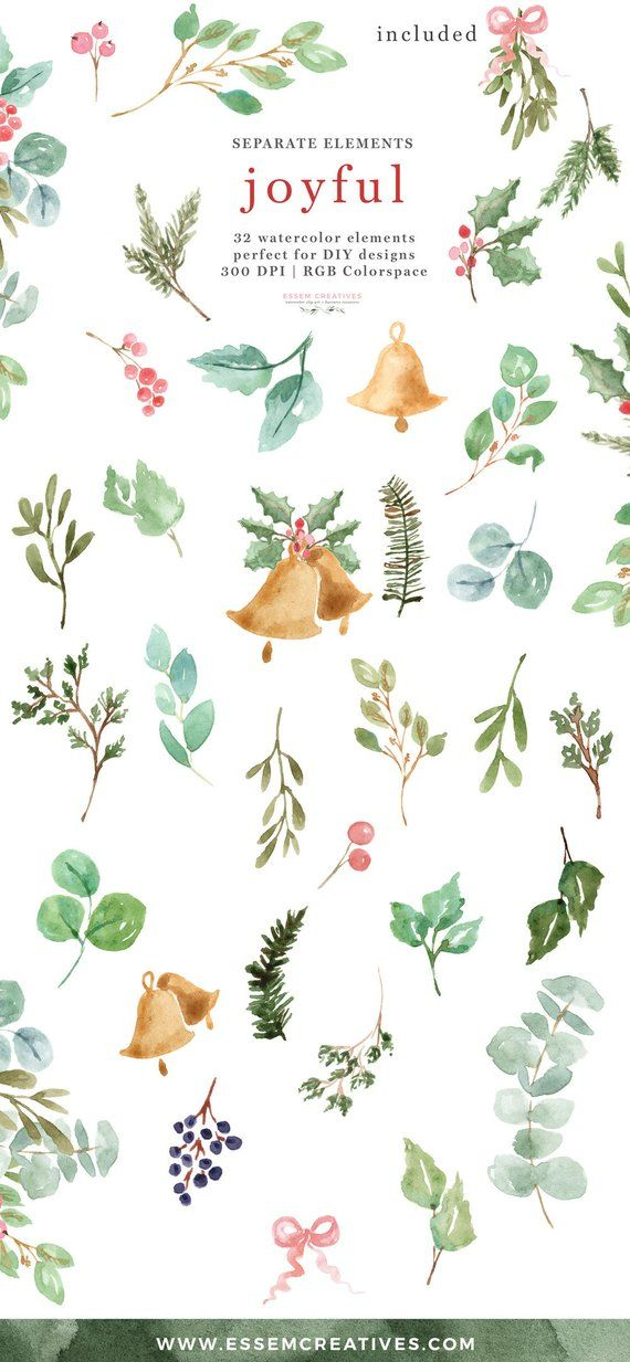 Winter greeny branches clipart clip transparent stock Watercolor Christmas Clipart, Winter Greenery Leaves Branch ... clip transparent stock