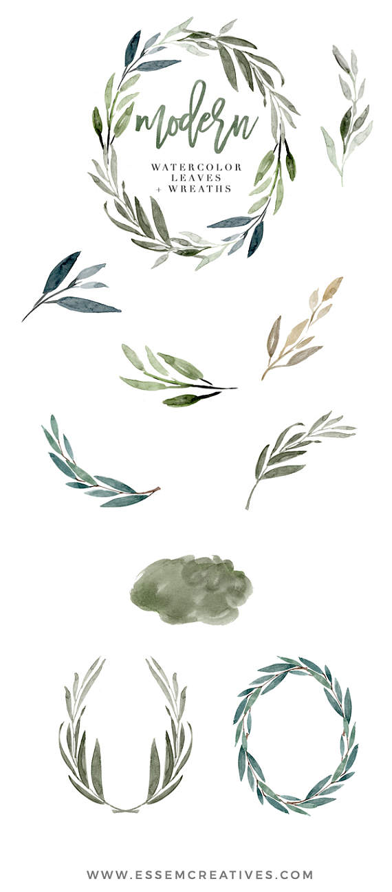 Winter greeny branches clipart svg transparent Watercolor Leaves Clipart, Modern Leaf Wreath, Green Branch ... svg transparent