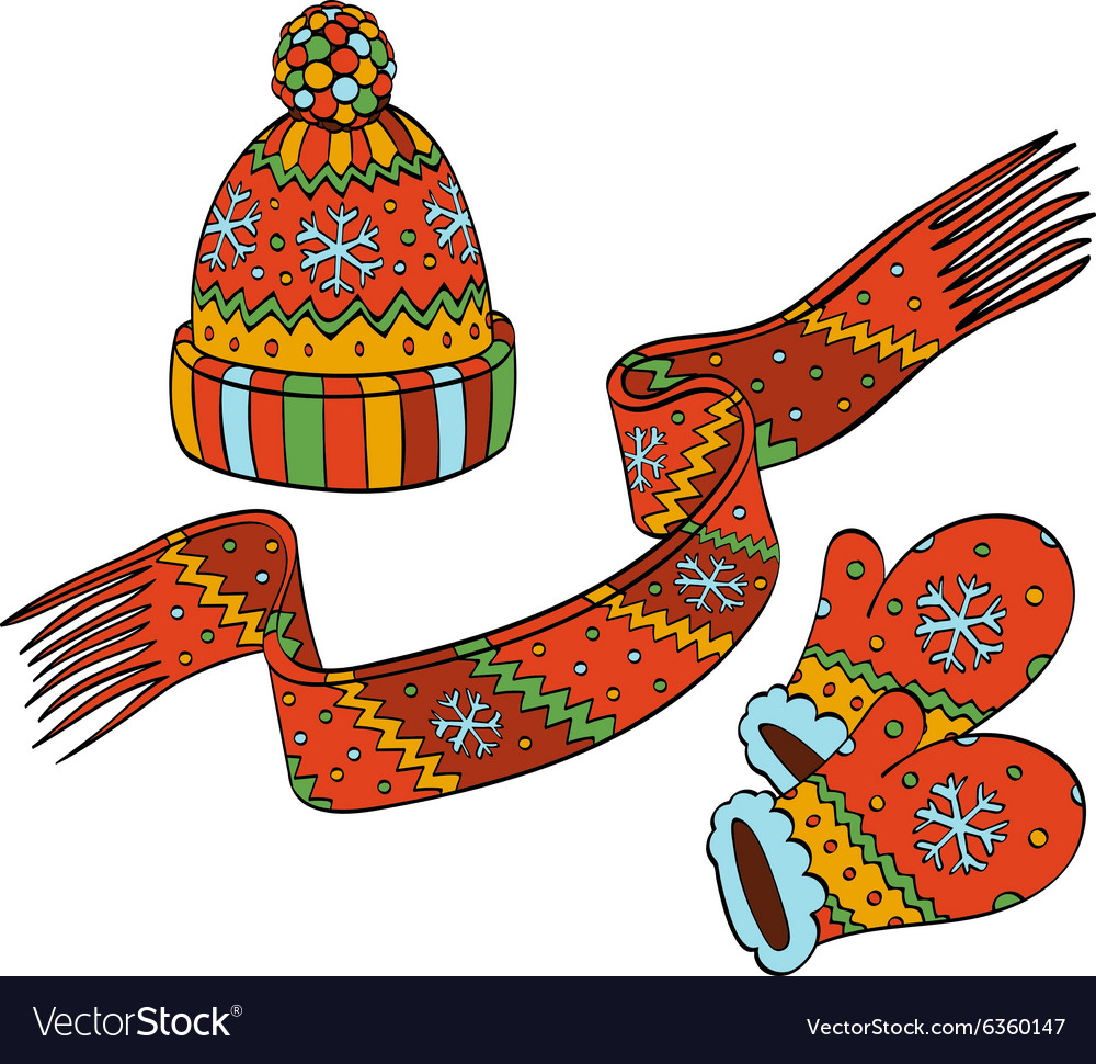 Winter hat and mittens clipart png free stock Winter hat mittens and scarf png free stock