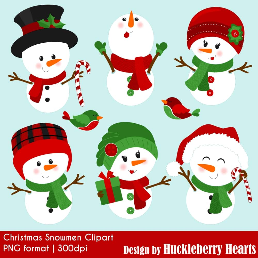 Winter hearts and snow clipart image Christmas Snowmen Clipart image