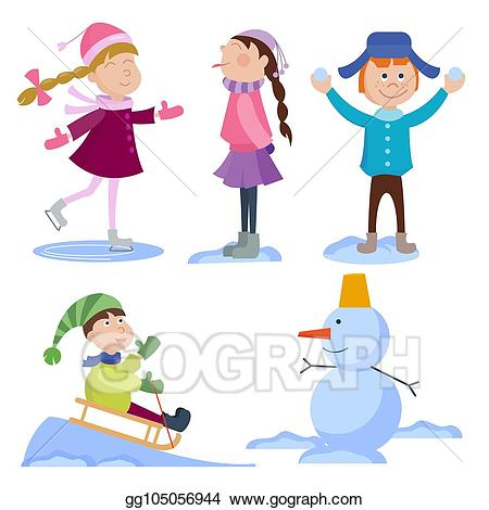 Winter holiday background clipart vector download Vector Art - Christmas kids playing winter games cartoon new ... vector download