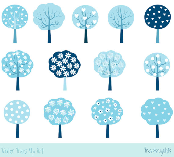 Modern tree clipart freeuse download Blue winter tree clipart, Christmas clip art, Cute modern ... freeuse download