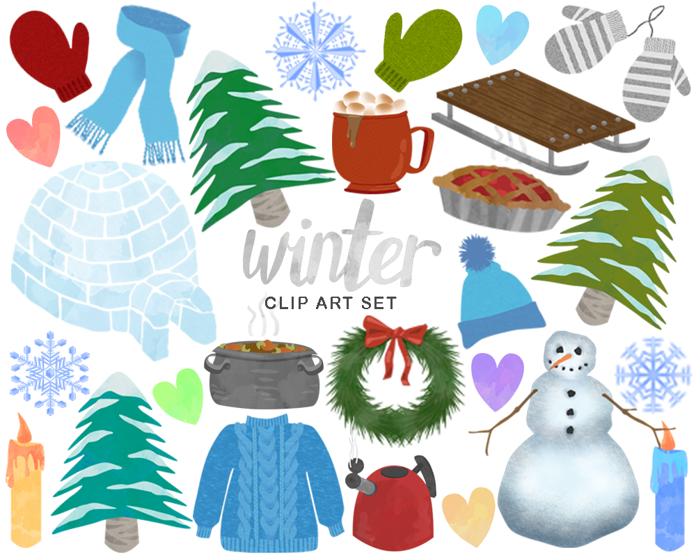 Winter igloos clipart svg library download Winter, igloo, scarf, hat, sweater, snowman, snowy trees ... svg library download
