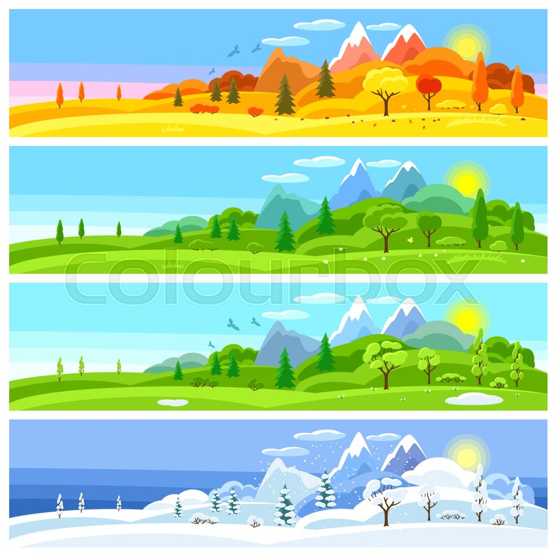Winter mountain banner clipart download Four seasons landscape. Banners with ...   Stock vector ... download