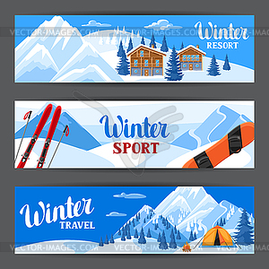 Winter mountain banner clipart picture royalty free Winter ski resort banners. Beautiful landscape - vector clipart picture royalty free