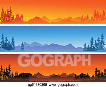 Winter mountain banner clipart picture library download Vector Clipart - Winter banner background . Vector ... picture library download