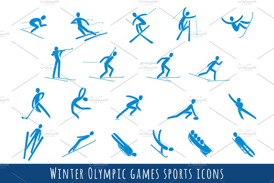 Winter olympics sports clipart graphic library library Winter Olympic Games Sport Icons Set graphic library library
