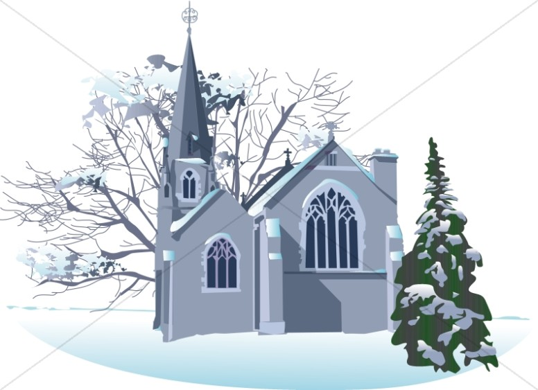 Winter religious clipart clipart free stock Snowy Winter Church | Church Clipart clipart free stock
