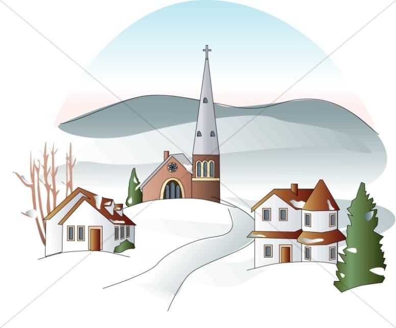 Winter religious clipart banner stock Winter Town Clipart | Church Clipart banner stock