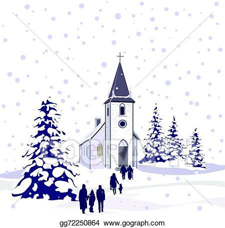 Winter religious clipart vector black and white stock EPS Vector - Winter church scene . Stock Clipart ... vector black and white stock