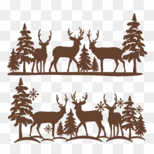 Winter scene with deer clipart image library library Download Free png Winter Reindeer Scene Svg Scrapbook Cut ... image library library
