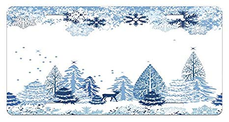 Winter scene with deer clipart vector freeuse stock Amazon.com: Ambesonne Winter License Plate, Winter Scene ... vector freeuse stock
