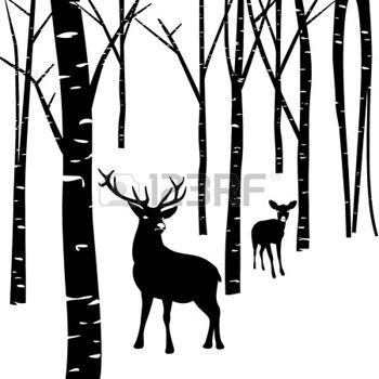 Winter scene with deer clipart picture library library deer silhouette: Couples of deer walking around winter ... picture library library
