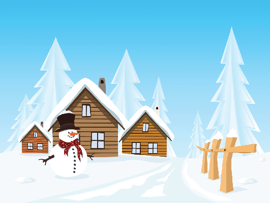Winter scenery clipart png graphic royalty free winter village clipart winter village landscape huts and ... graphic royalty free