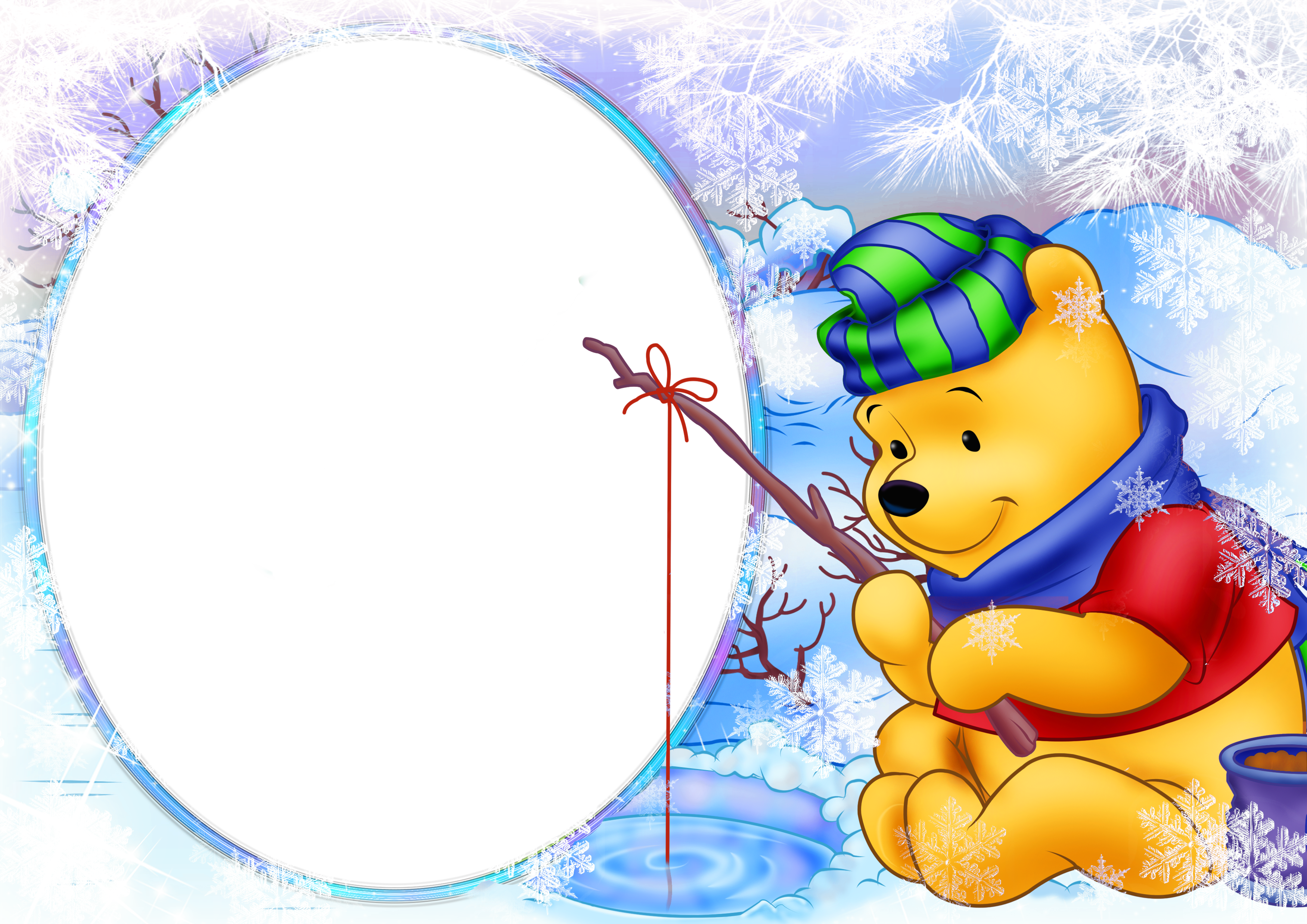 Winter school clipart image transparent download Christmas Kids Winter Frame with Winnie the Pooh | Gallery ... image transparent download