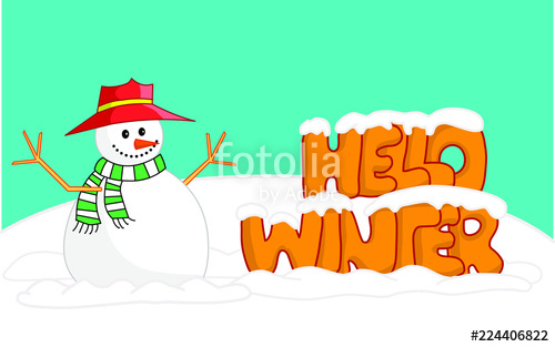 Winter side clipart free picture Snowman and \'hello winter\' writing side by side card\