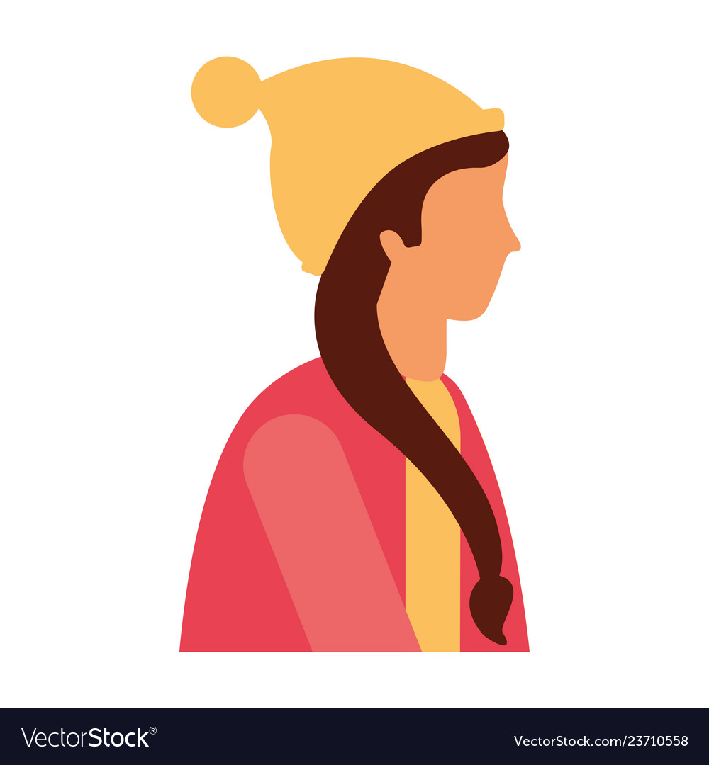 Winter side clipart free vector Woman side view with winter clothes vector