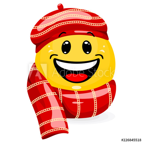 Winter smiley face clipart banner library library Emoticon wearing winter clothes. Smiling face in hat and ... banner library library