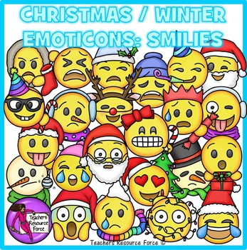 Winter smiley face clipart image transparent Christmas / Winter Emoji Clip Art: Smiley Faces Emoticons Clipart image transparent