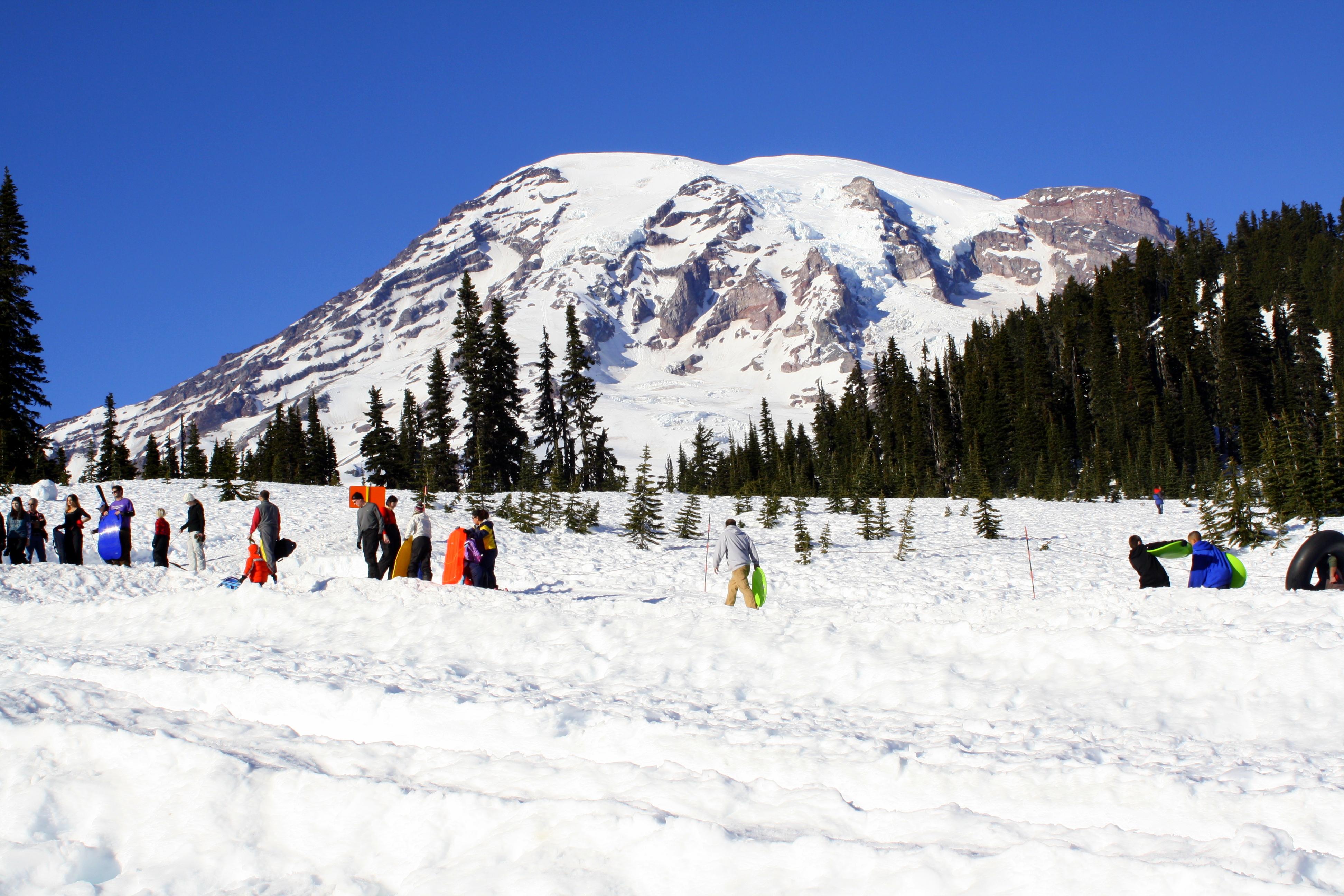 Winter snow picnic clipart graphic Sledding & Tubing at Snow Play Area Mt. Rainier | Visit Rainier graphic