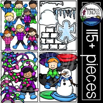 Winter teacher clipart graphic Winter Kids Clipart MEGA Set graphic