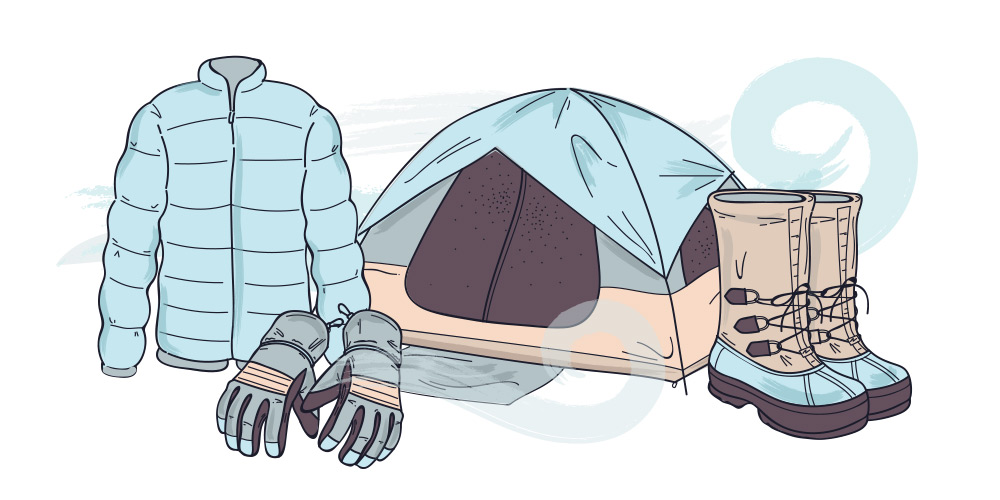 Winter tent camping clipart