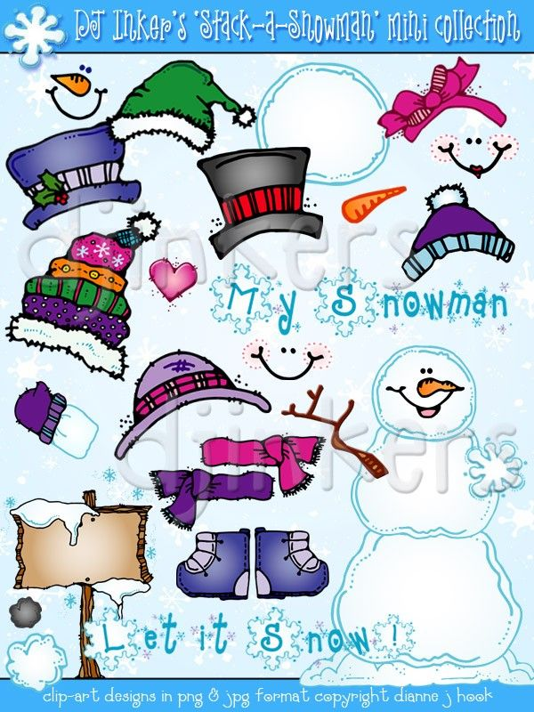 Winter theme preschool clipart clip art black and white library Stack a Snowman clip art activity | DJ stuff I luv ... clip art black and white library