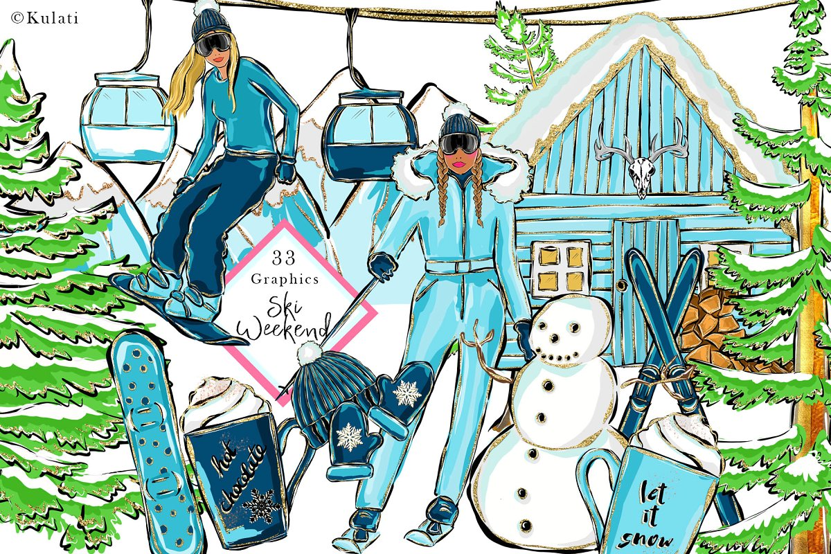 Winter weekend clipart jpg freeuse Ski Weekend - clipart / graphics ~ Illustrations ~ Creative ... jpg freeuse