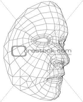 Wire face frame clipart jpg black and white download Image 7479198: Wire-frame abstract human face jpg black and white download