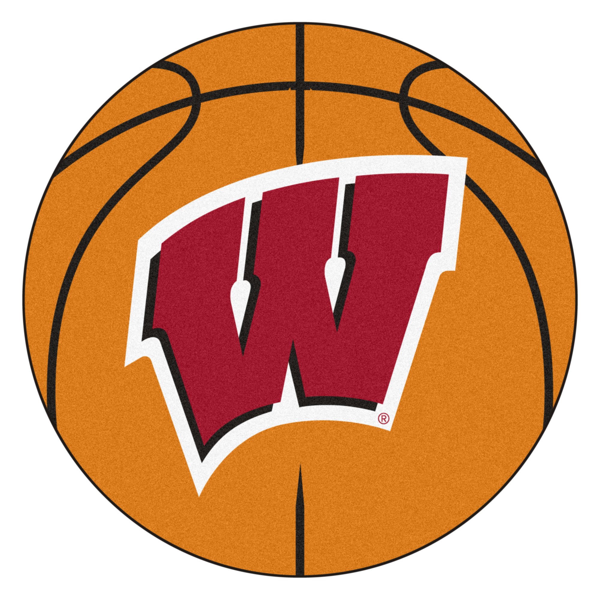 Wisconsin badgers basketball clipart picture black and white library NCAA University of Wisconsin Badgers Basketball Shaped Mat Area Rug picture black and white library