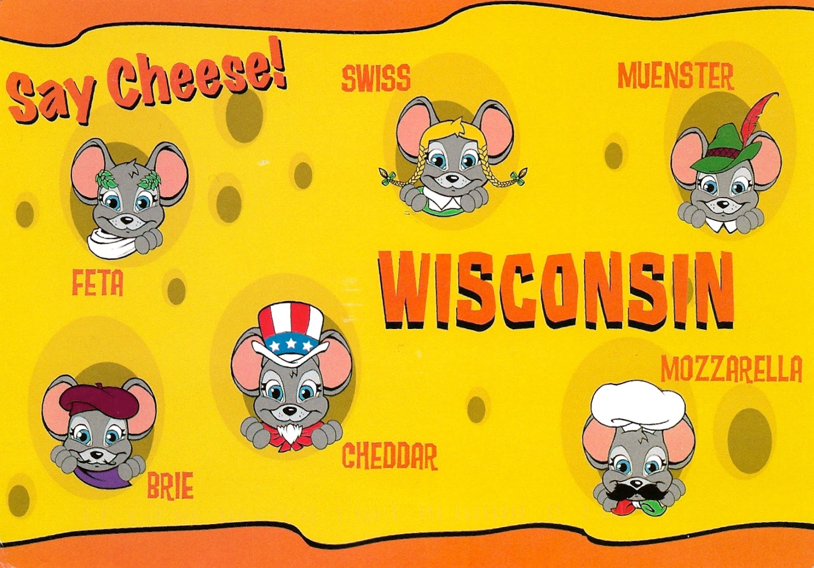 Wisconsin cheese letters clipart png black and white library My Favorite Postcards: Two Fun Postcards of Wisconsin Cheese png black and white library