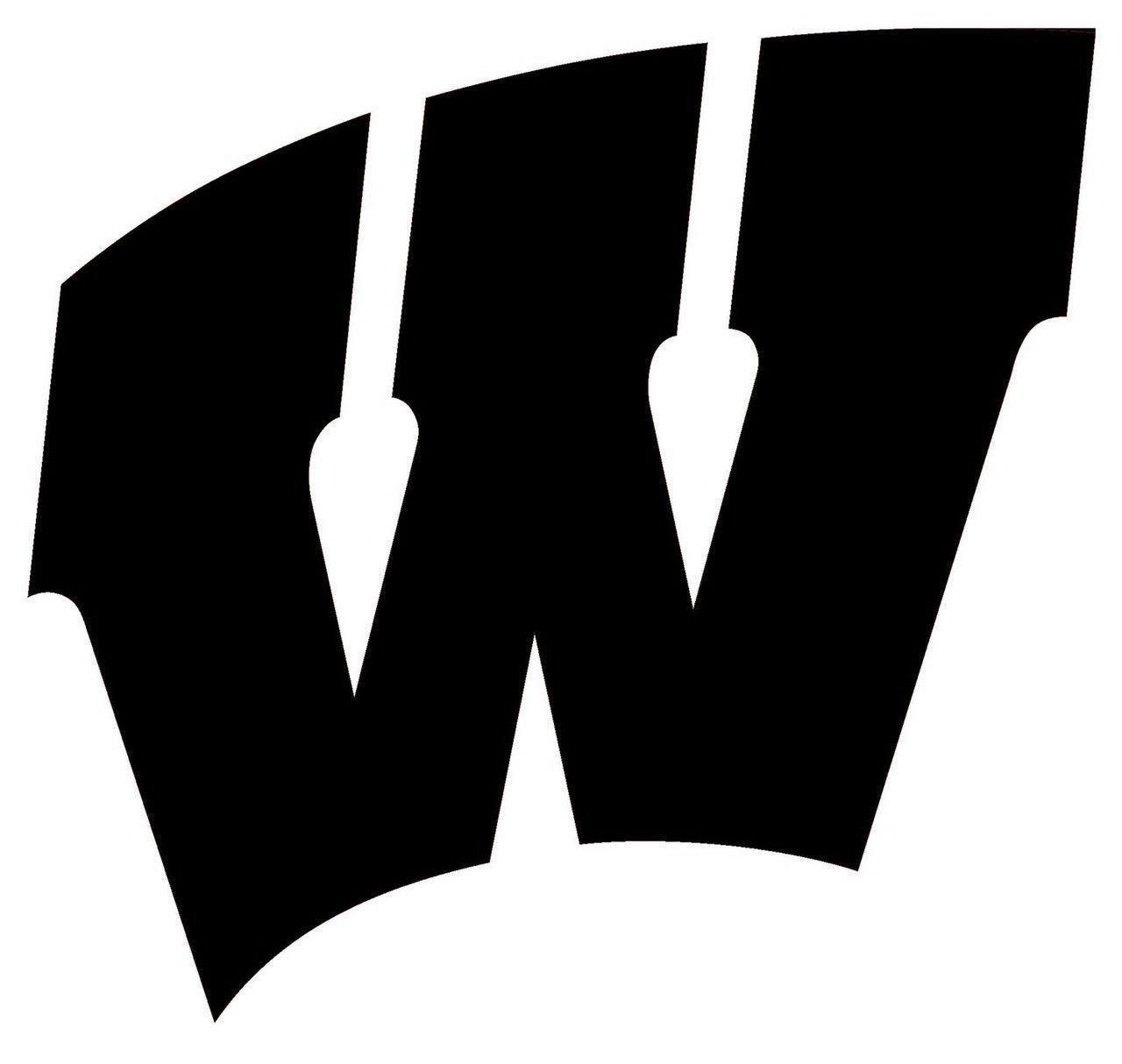 Wisconsin sports logos clipart black and white clip black and white download Wisconsin W Logo - LogoDix clip black and white download
