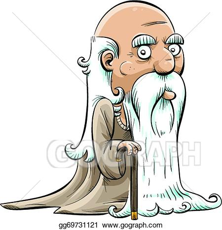 Old man with beard clipart png free library Vector Clipart - Wise old man. Vector Illustration ... png free library