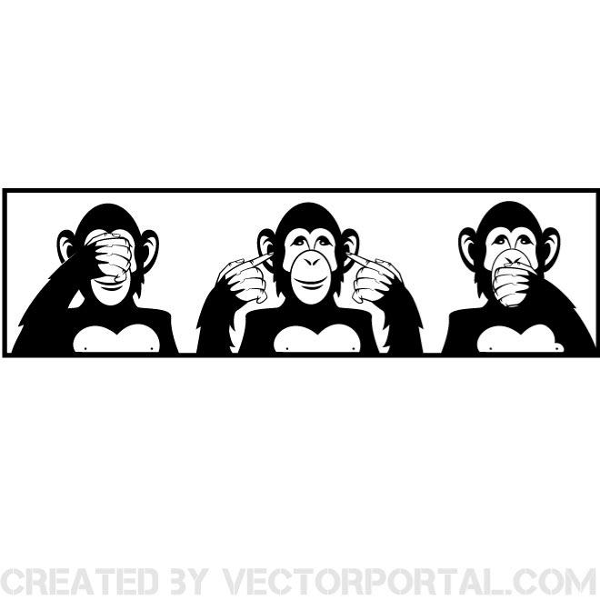 Wise monkey clipart clip art library download THREE WISE MONKEYS VECTOR ILLUSTRATION - Free vector image ... clip art library download