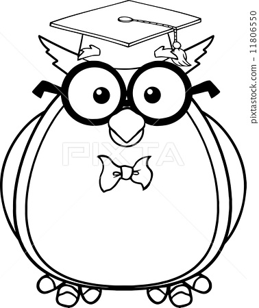 Wise owl clipart black and white picture royalty free download Black And White Wise Owl Teacher Cartoon... - Stock ... picture royalty free download