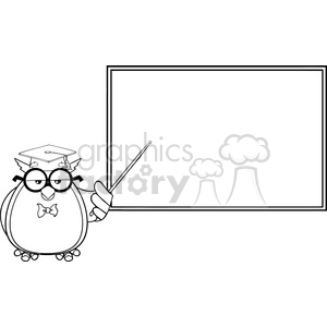 Wise owl clipart black and white vector black and white Royalty Free RF Clipart Illustration Black And White Wise Owl Teacher  Cartoon Mascot Character In Front Of School Chalk Board clipart.  Royalty-free ... vector black and white