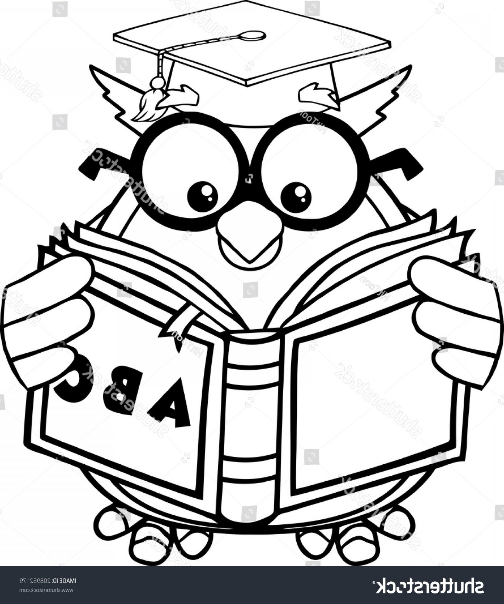 Wise owl clipart black and white transparent library Black White Wise Owl Teacher Cartoon | SOIDERGI transparent library