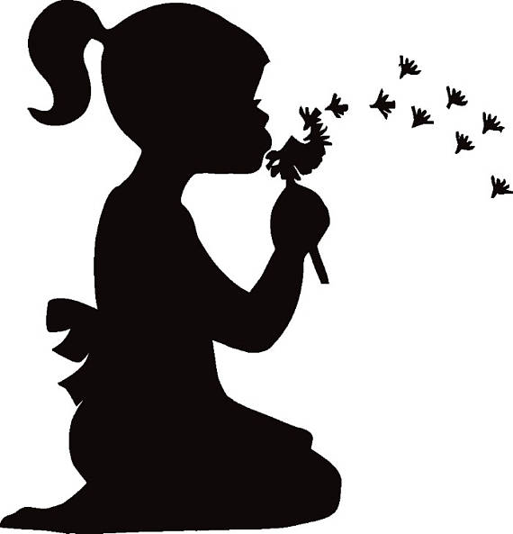 Wish clipart black and white clipart download Girl Blowing Dandelion Flower Petals Wish Retro.SVG .EPS ... clipart download