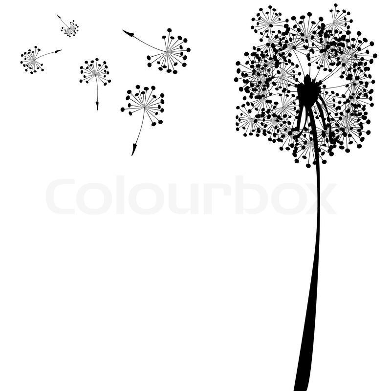 Wishing flower clipart svg stock Dandelion against white background, ... | Stock vector ... svg stock