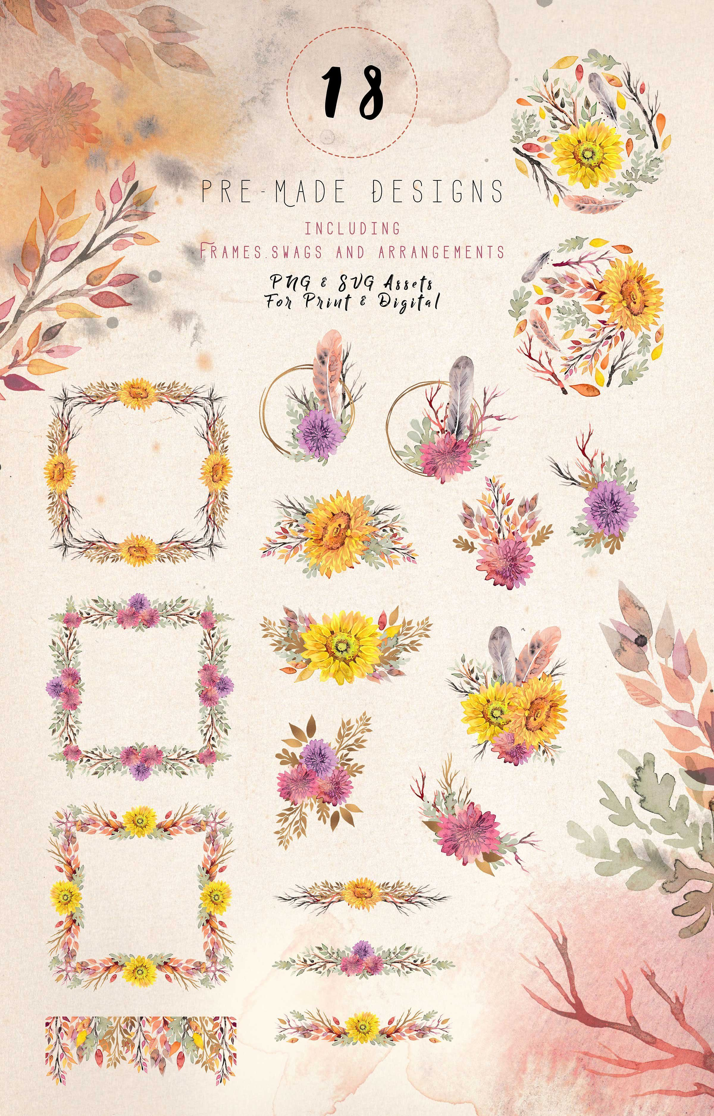 Wistful clipart banner library Floral Clipart Set - Wistful Autumn by RachelLang on ... banner library