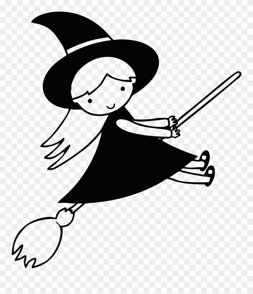 Witch black clipart banner transparent library Big Image - Witch Black And White Clip Art - Png Download ... banner transparent library