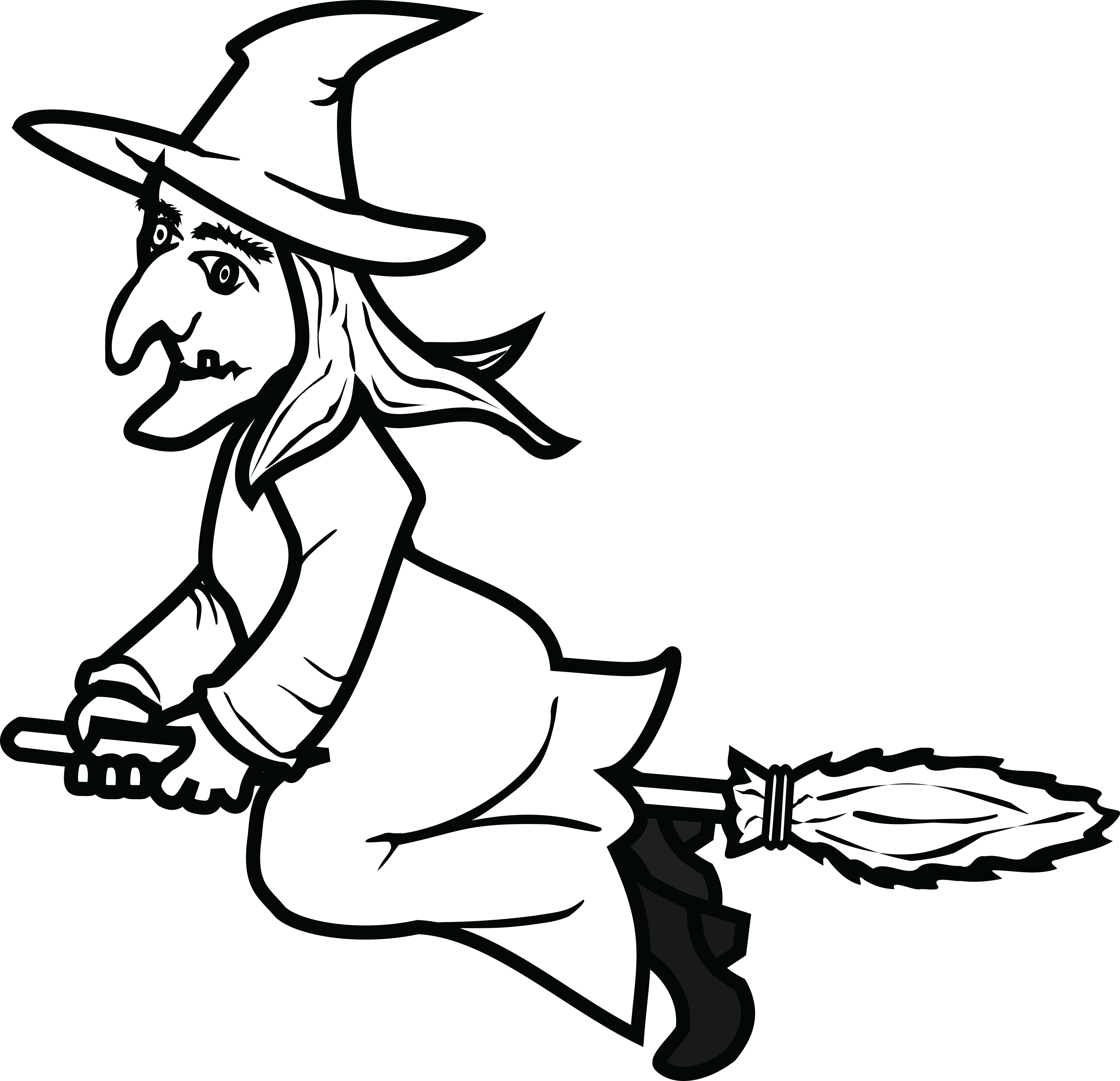 Witch clipart black and white