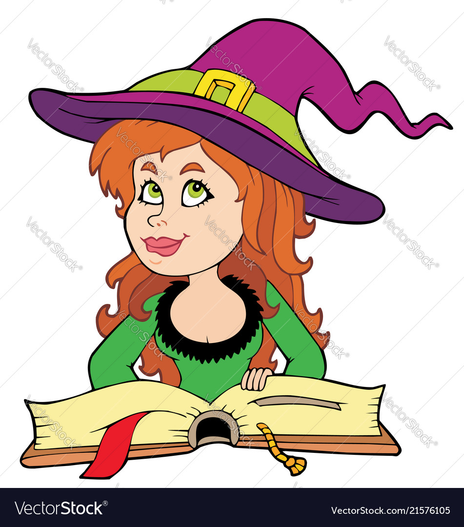 Witch book free clipart jpg library download Cute girl witch reading book jpg library download