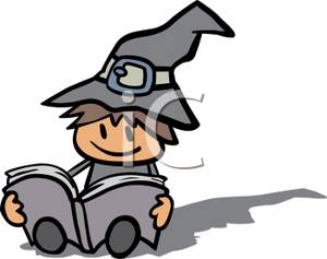 Witch book free clipart clip art royalty free A Child Dressed In A Witch Costume Reading A Book - Royalty ... clip art royalty free
